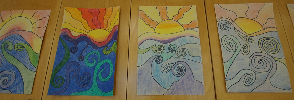 Four drawings of suns and water